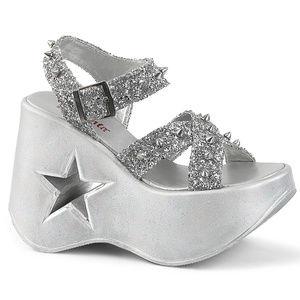 "Shoes - 5"" Platform Wedge Star Spike Glitter Sandals"